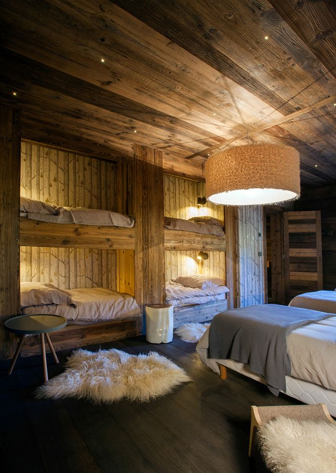 Elegant chalet in the French Alps  Luxe Alpine Lodge  Chalet interior Chalet design Bunk rooms