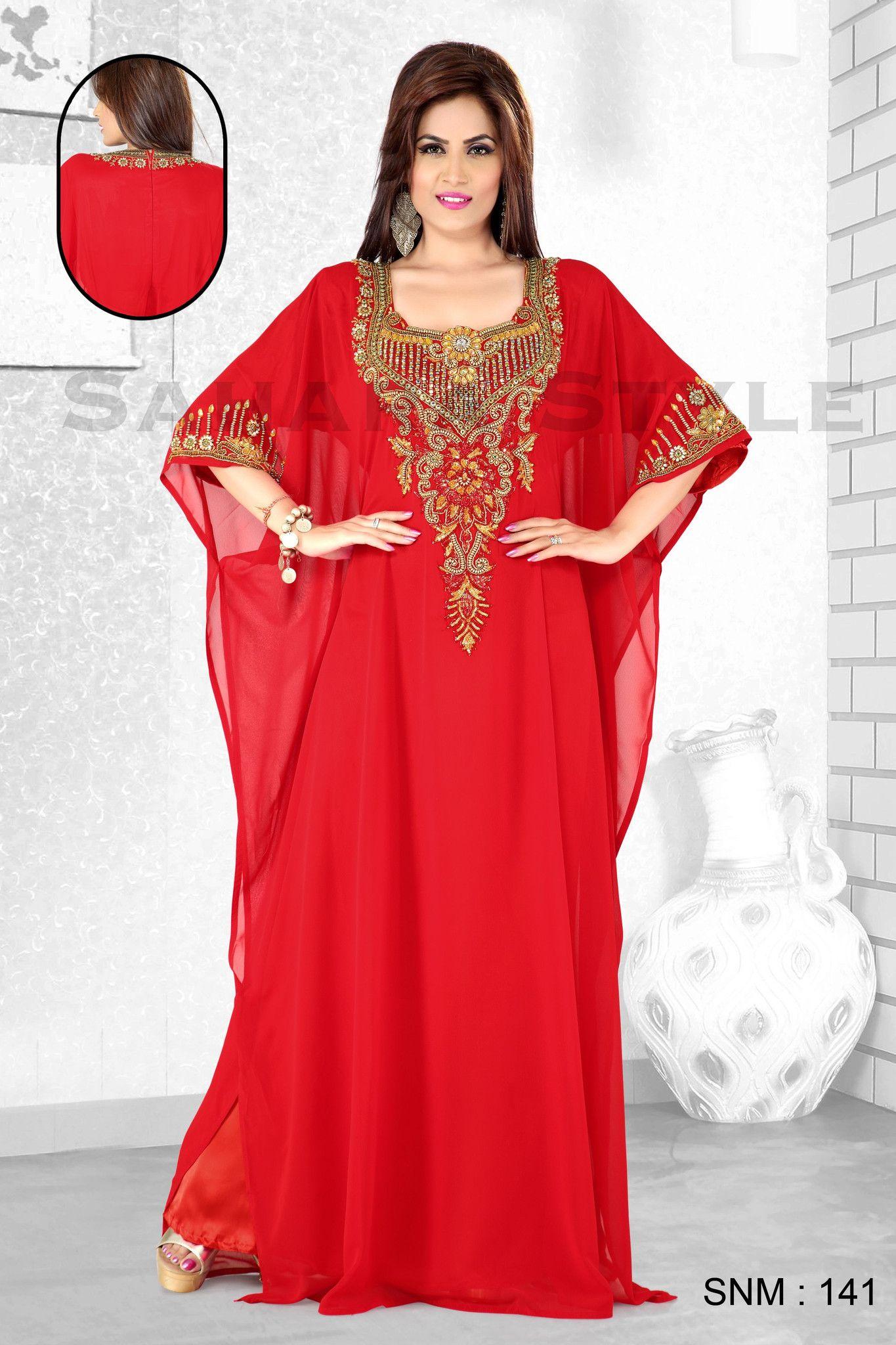 Zara Red Kaftan - Arab Dubai Style Kaftan Farasha Jalabiya Abaya Sahara Style