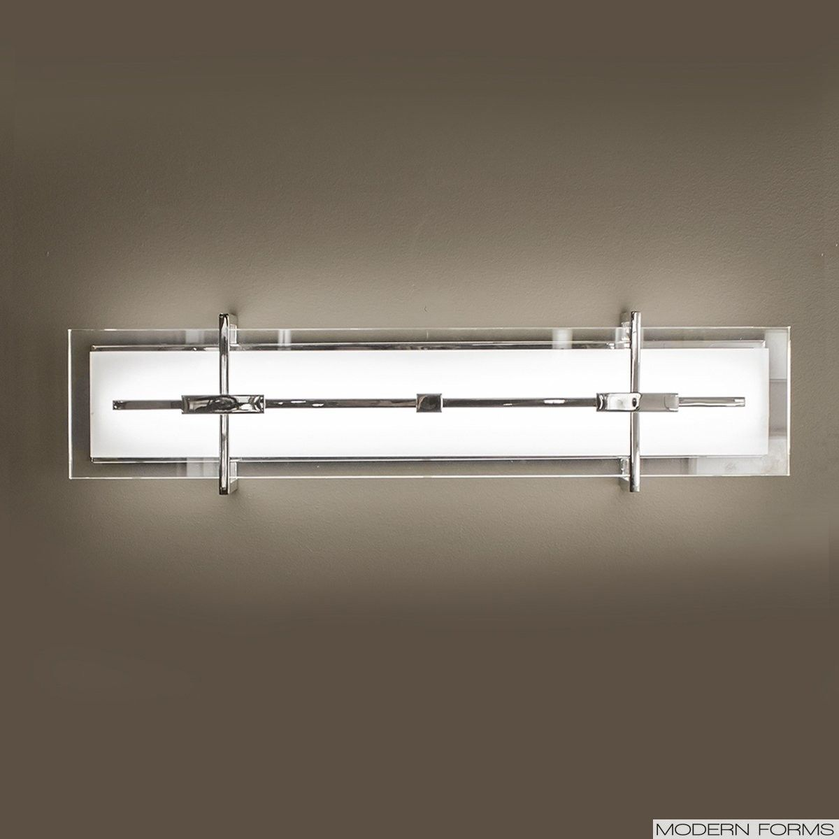 Seismic led wall sconce in stainless steel by modern forms
