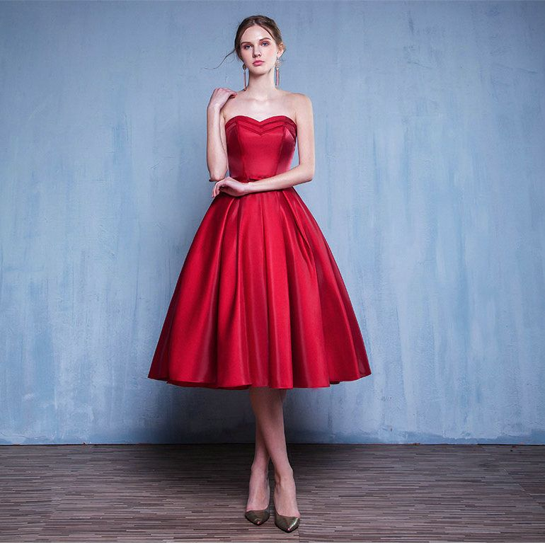 Real photo elegant tea length red party dress 2017 robe de for Red tea length wedding dress