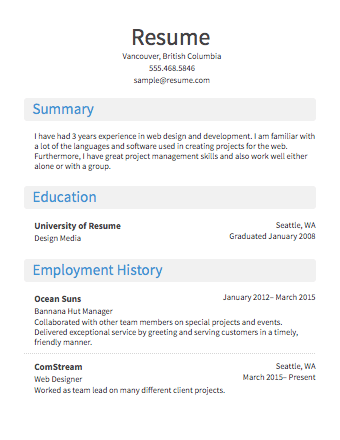 Free Online Resume Templates Canada Best Resume Examples