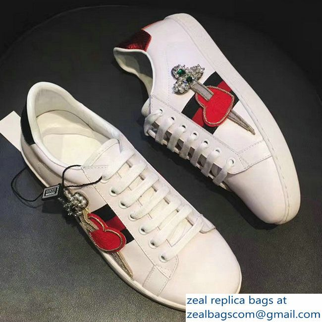 5feb0b93d Gucci Ace Leather Embroidered Pierced HeartLow-top Sneaker 472990 White