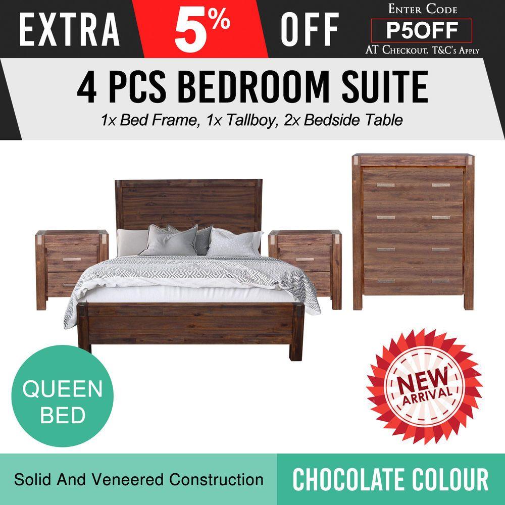 New Bedroom Suite Mdf Aesthetic Strong Legs 4pcs Queen Chocolate Colour Nowra Bedroom Suite