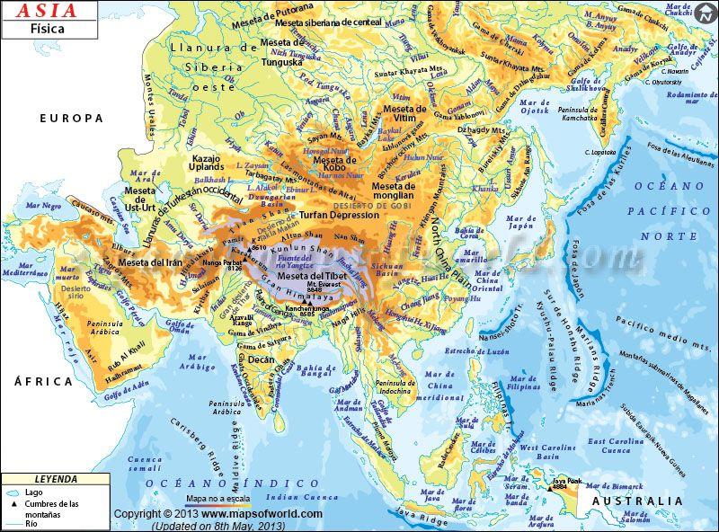 Resultado De Imagen De Mapa Asia Mudo Fisico Idioma Mapa De