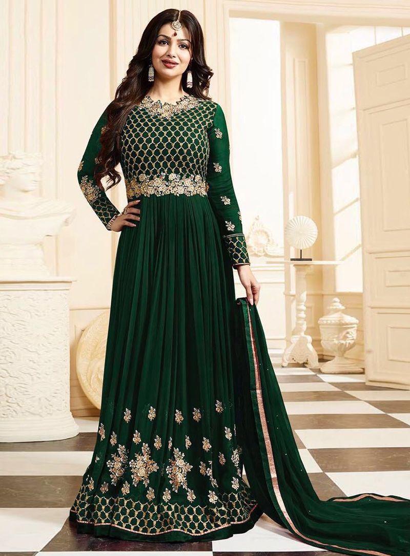 7a992077a6 Ayesha Takia Green Georgette Long Anarkali Suit 94068 | Anarkali ...
