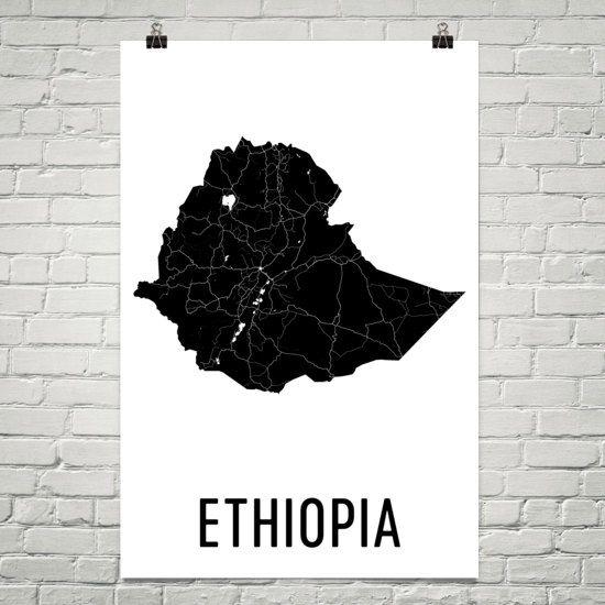 Ethiopia Map, Ethiopian Art, Map of Ethiopia, Ethiopia Decor, Ethiopia Gift, Ethiopia Print, Ethiopia Poster, Ethiopia Wall Art, Ethiopian