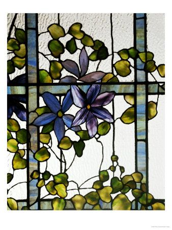 Yama Bato Louis Comfort Tiffany Three Sectioned Skylight For The Harbel Manor Akron Ohio Circa 1915 Giclee Print 9 X 12 In Glas In Lood Schilderij Kunst