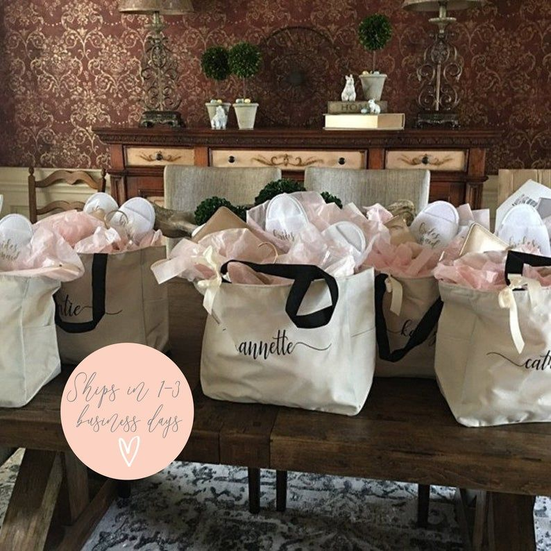 Wedding Party Bags Set of 10 Bridesmaid Tote Bag Bridal Party Gift- Initial Tote- Mother of the Bride Gift