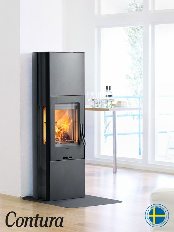 Woodburner With Black Steel Surround Glass Or Cast Iron