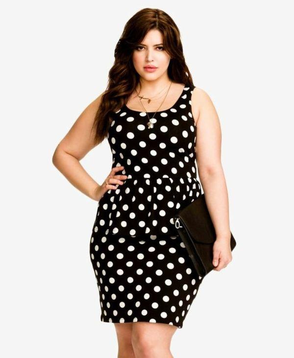 schwarzes kleid weiße punkte mode für mollige junge damen