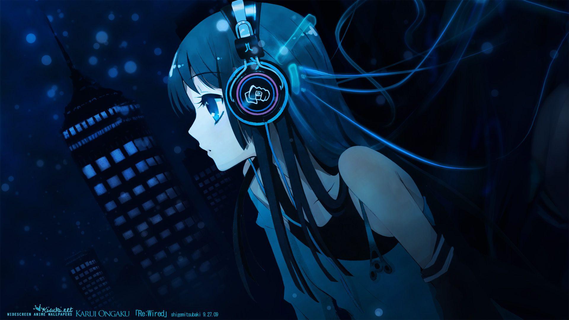 Hd wallpaper anime - Blue Anime Girl Music Hd Desktop Wallpaper Free 89282 Wallpaper