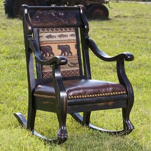 Amazing Vintage Log Cabin Ebony Amber Rocker By Country Road Furniture