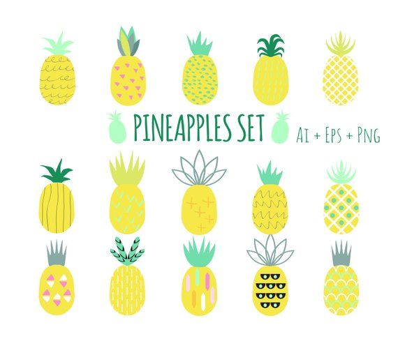 Pineapple Clipart Pineapples Set Pine Vector Pineapple Doodle