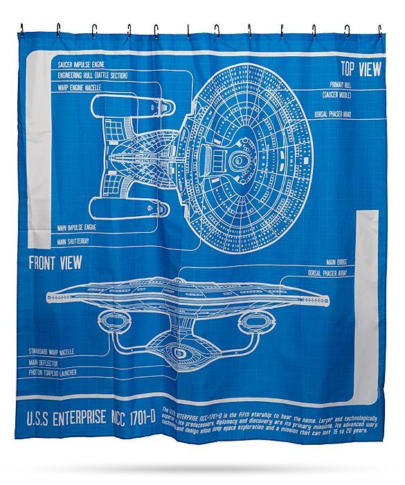 Star Trek Tng Enterprise Blueprint Shower Curtain Star Trek