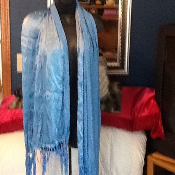 "Long silky   Scarf or shawl🍥🍥🍥 Blue silk fringe on bottom.  6 feet. There is no tag so even though I think it is ""silk"" I can't guarantee it. Accessories Scarves & Wraps"