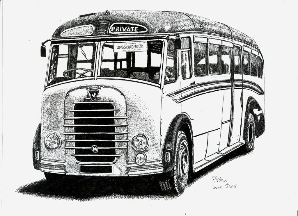 Pen & Ink Drawing, A4 - Old-Fashioned Charabang | A4, Car vehicle ...