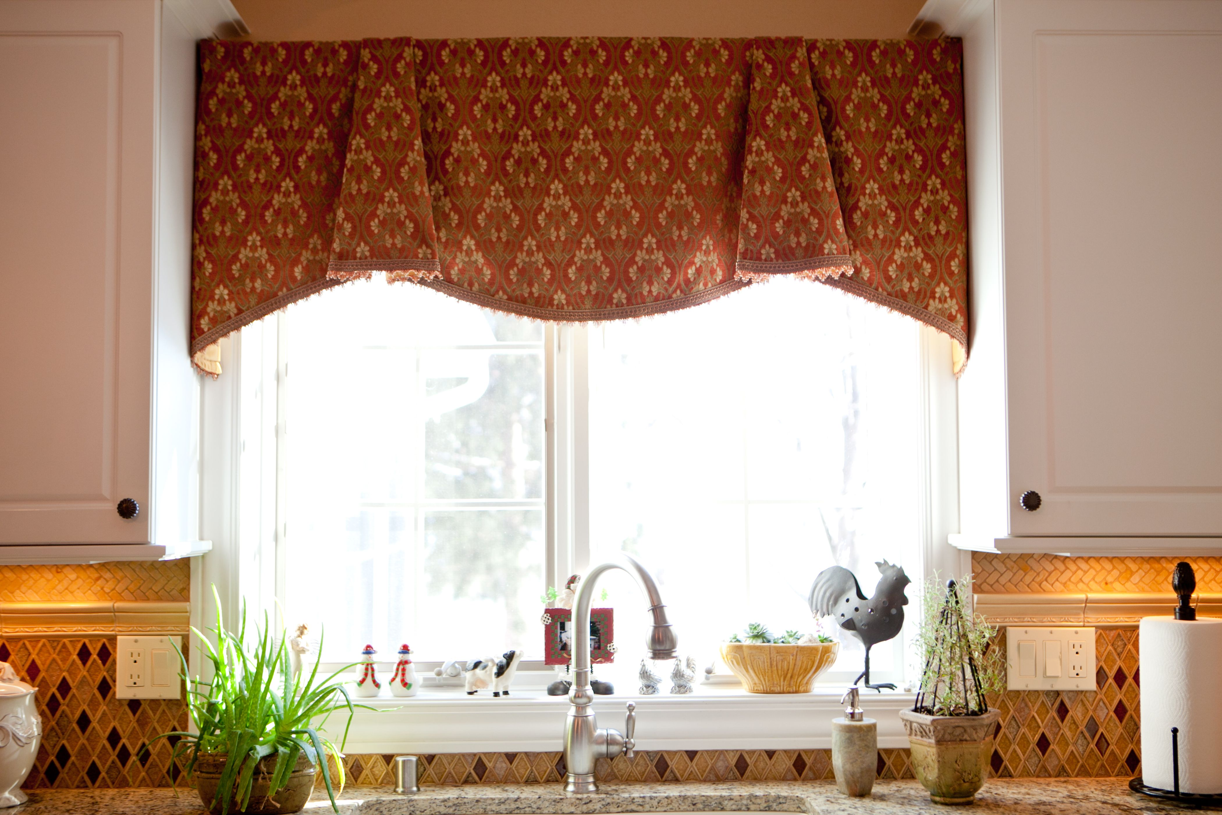 Kitchen ideas kitchen nice looking brown fabric geometric patterns window valance ideas for double glass windows