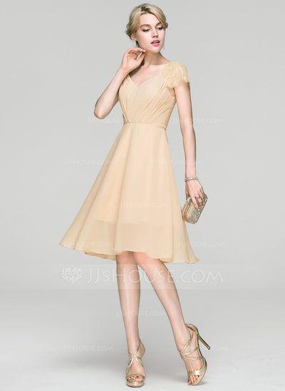 982f378e537c4 [US$ 106.69] A-Line/Princess V-neck Knee-Length Chiffon Cocktail Dress With  Ruffle Lace
