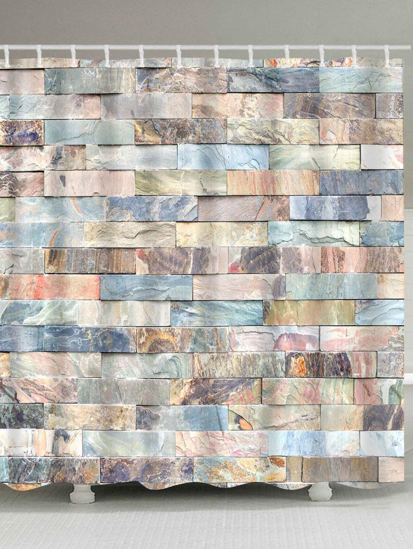 Brick Wall Print Waterproof Fabric Shower Curtain