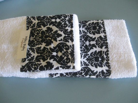Damask Black And White Guest Towel Set Of 2 Hand By Milkybaby50
