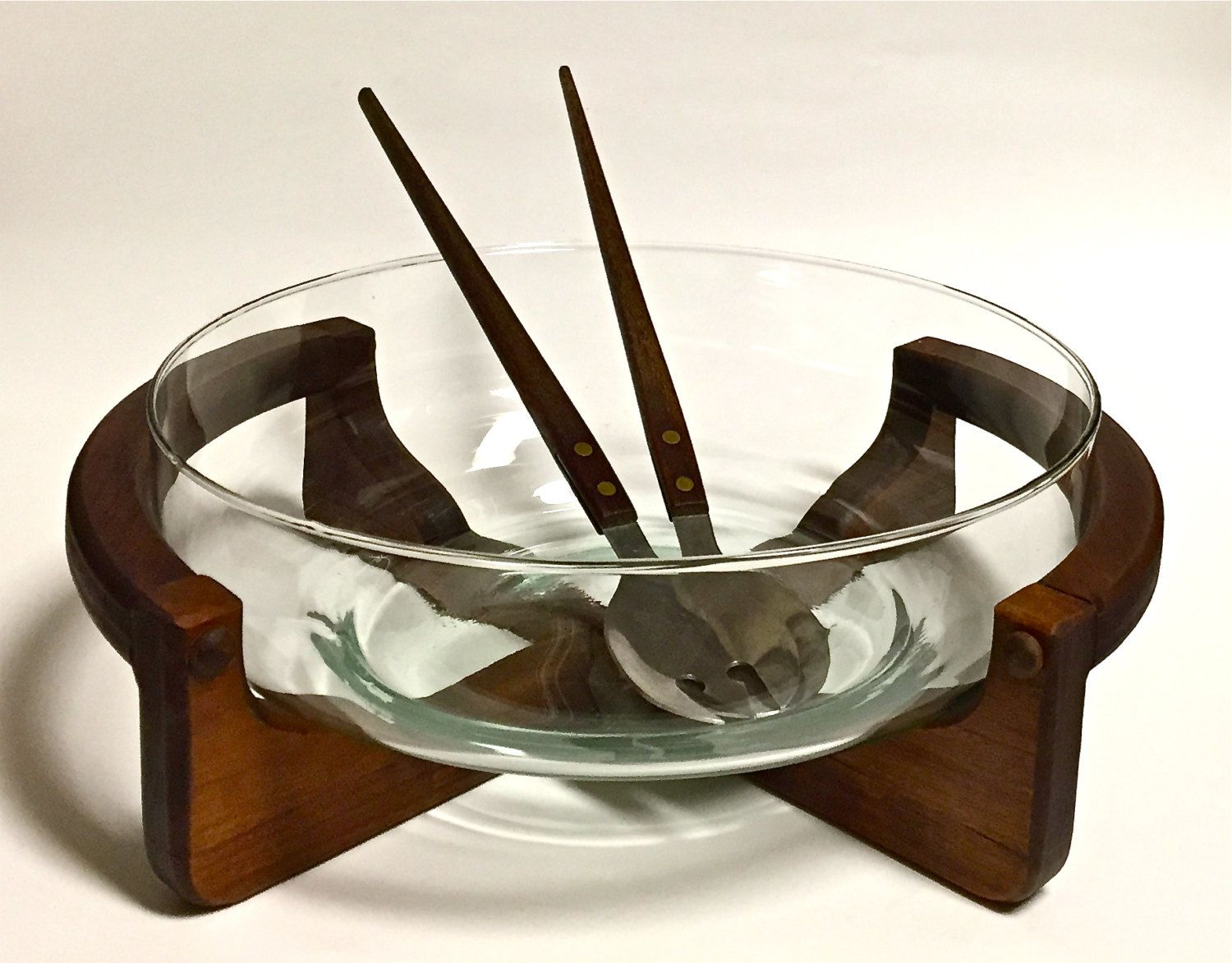 Mid Century Modern Retro Wood Salad Bowl Stand With Gl And Stainless Steel Servers