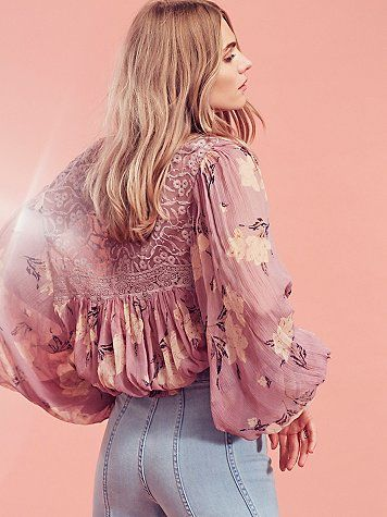 Caught Up Printed Blouse | Flowerchild inspired peasant blouse featuring a lace mesh V-neckline and sheer printed bodice.