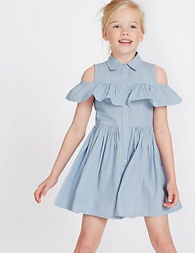 Summer Kids Girls Floral Pattern Short Sleeve Cold Shoulders Cotton A-Line Dress