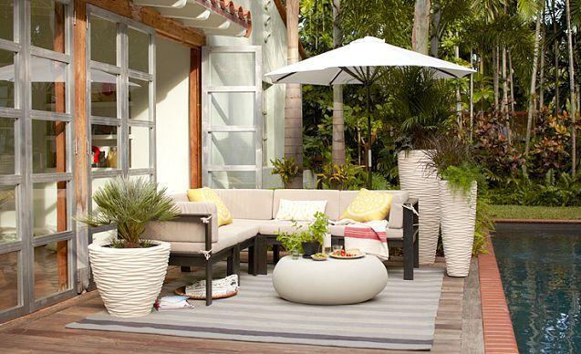 i love the west elm outdoor on outdoor living pinterest wood slats. Black Bedroom Furniture Sets. Home Design Ideas