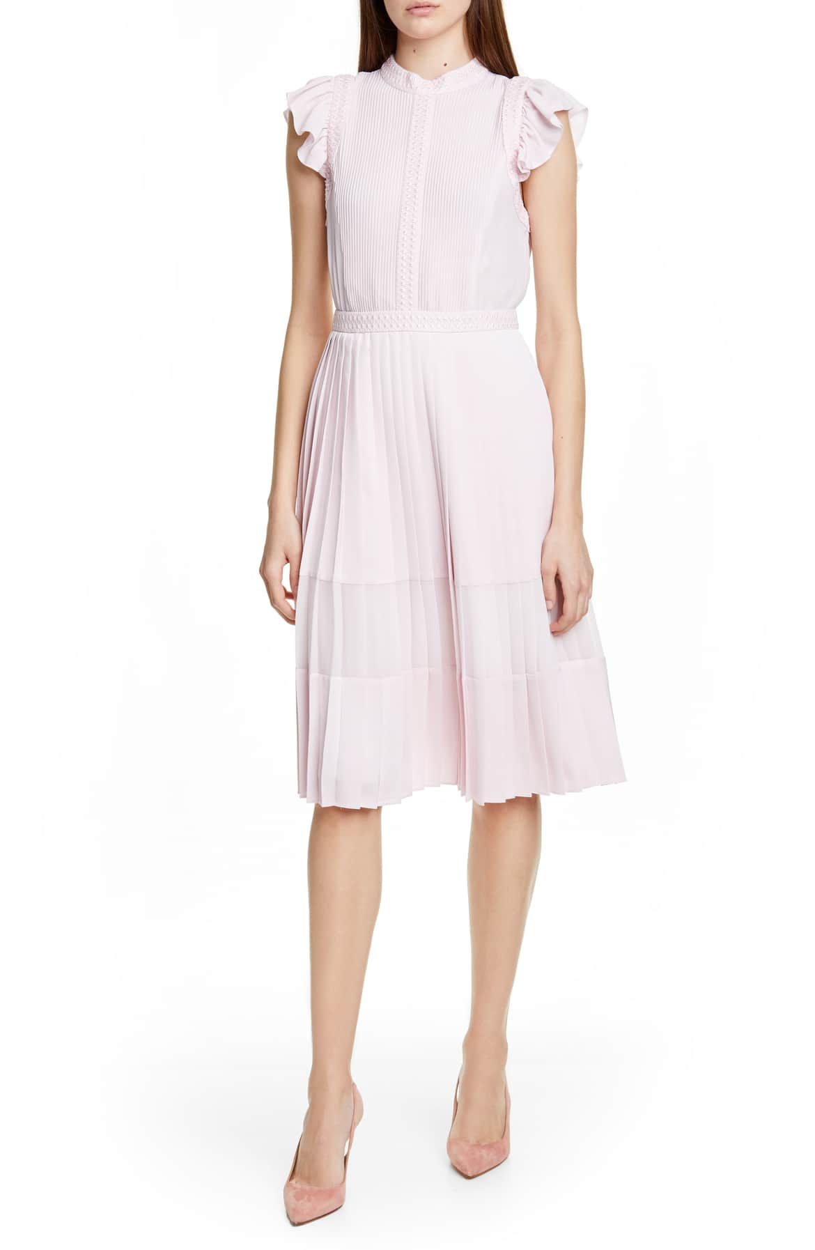 cfdac2fa509f TED BAKER LONDON Averele Ruffle & Pleat Midi Dress, Main, color, NUDE PINK