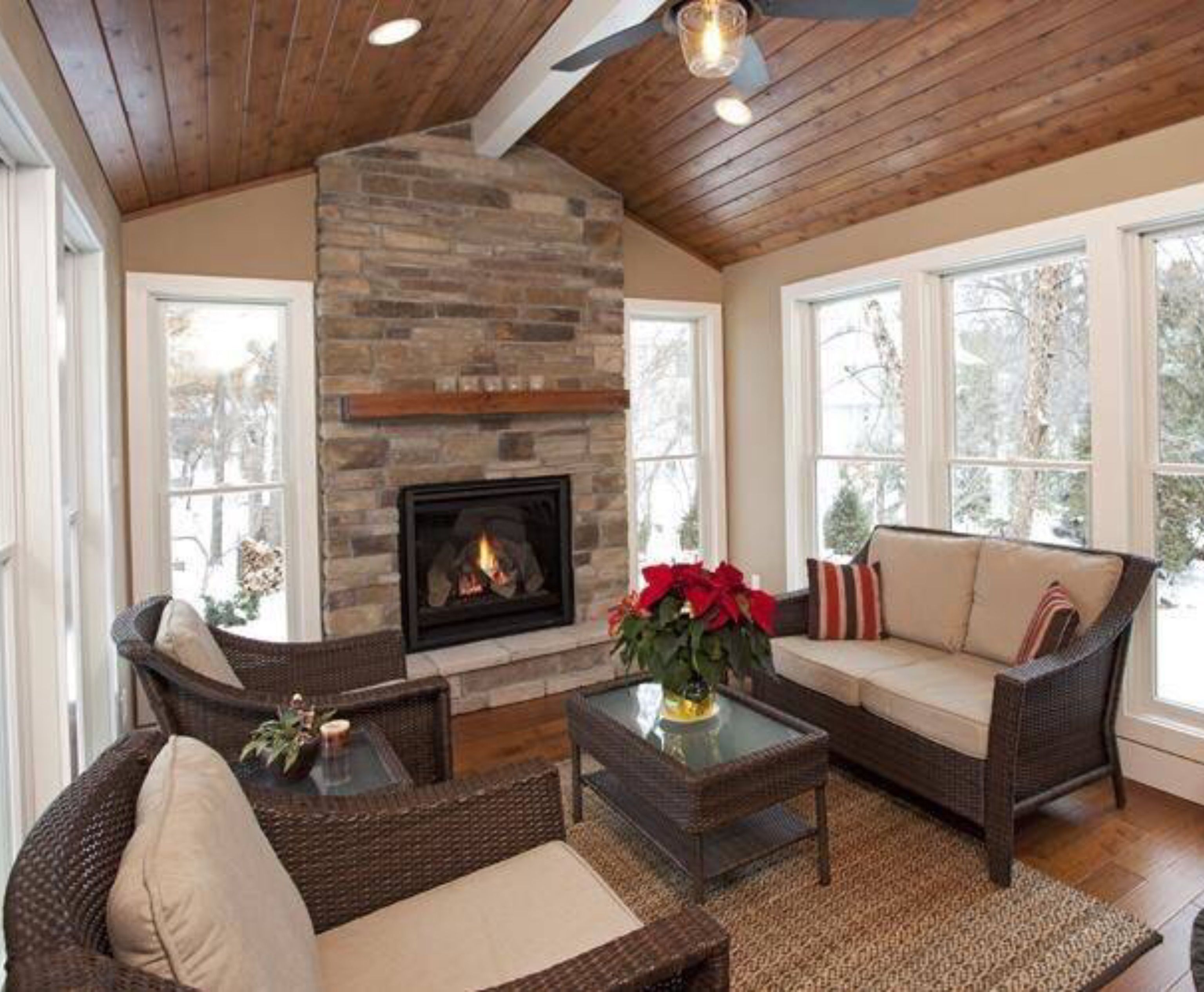 Pin By Texas Favorites Country Trea On Living Areas Small Fireplace House With Porch Sunroom Designs