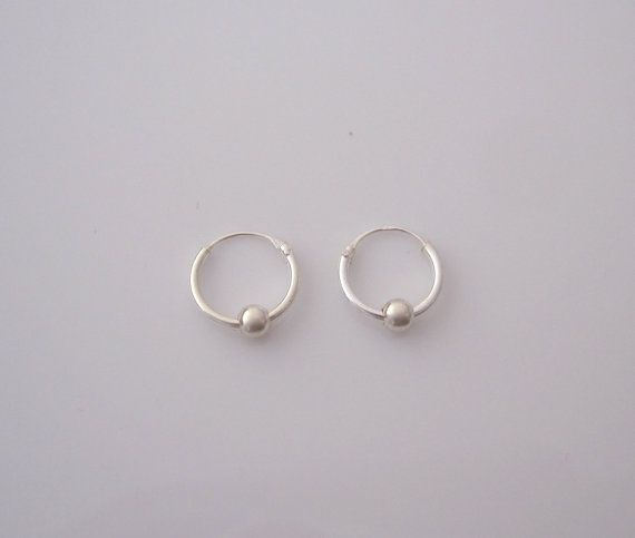 Sterling Silver Ball and Hoop Sleeper 12mm