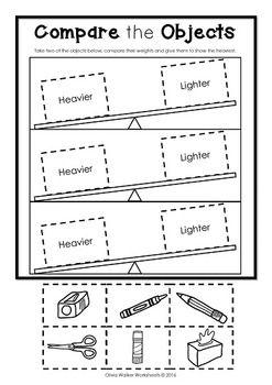 weight worksheets non standard measurement  kindergarten grade  weight worksheets non standard measurement  kindergarten