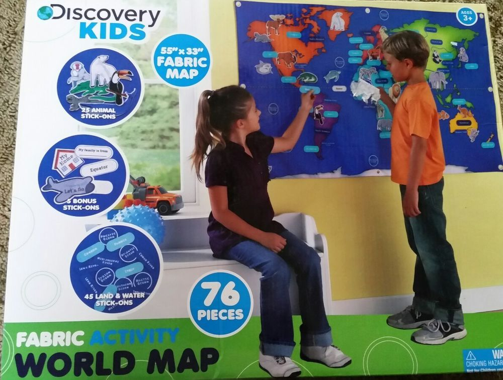 Discovery kids fabric activity world map 55 x 33 76 pieces new discovery kids fabric activity world map 55 x 33 76 pieces new gumiabroncs Images