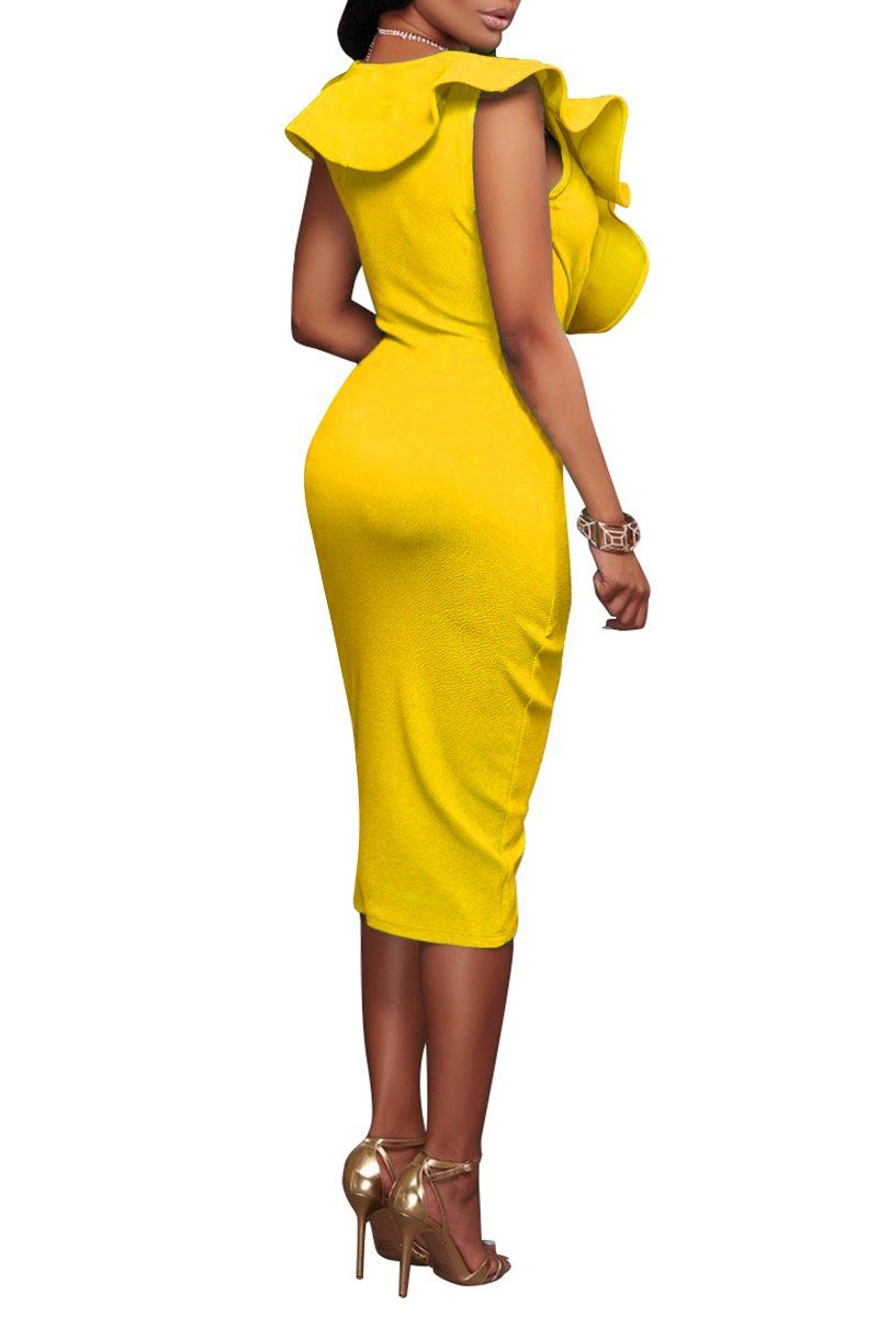 0392f39187aa YMING Deep V Neck Bodycon Dress Women Solid Color Clubwear Dress Yellow L