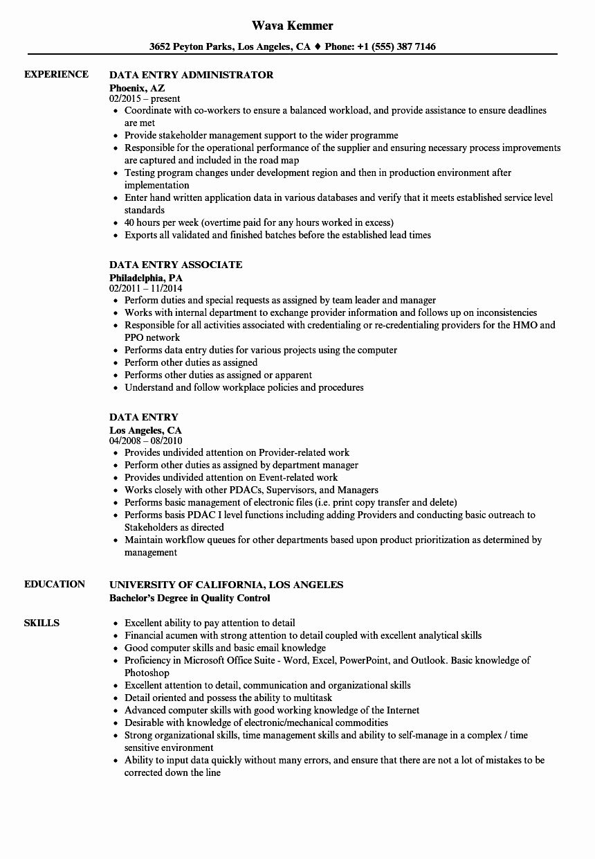 Data Entry Resume Examples Fresh Data Entry Resume Samples