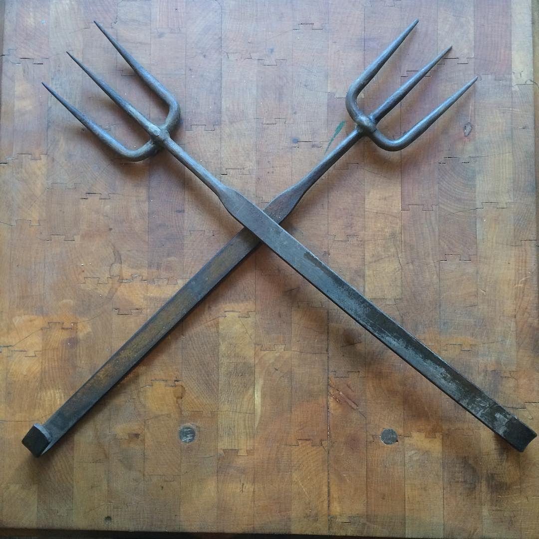 """*sold* Vintage 19"" long Hercules bbq forks made in Brooklyn NY $66.60 #bbq #bigfaka #vintageknives #vintagekitchen #bernalcutlery"""