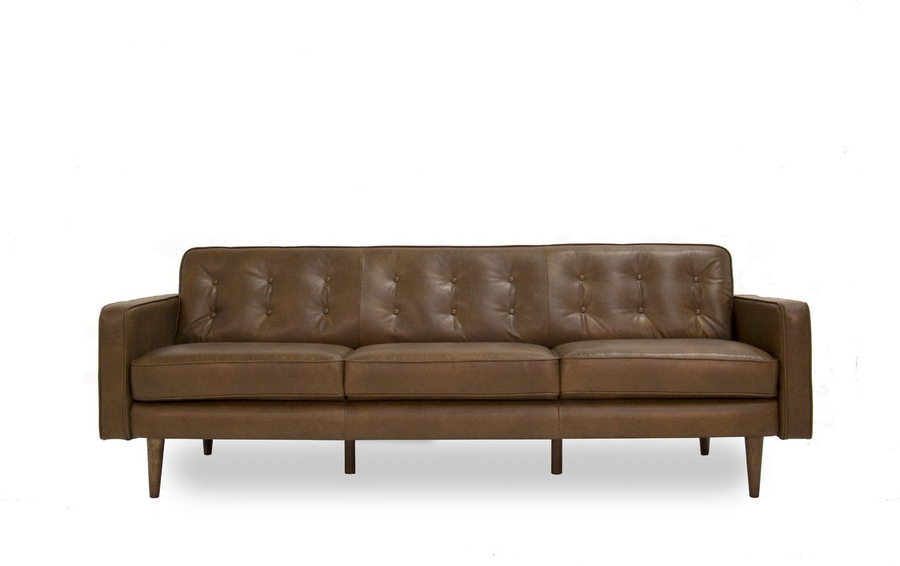 Louane Leather 85 Square Arm Sofa Mid Century Modern Leather