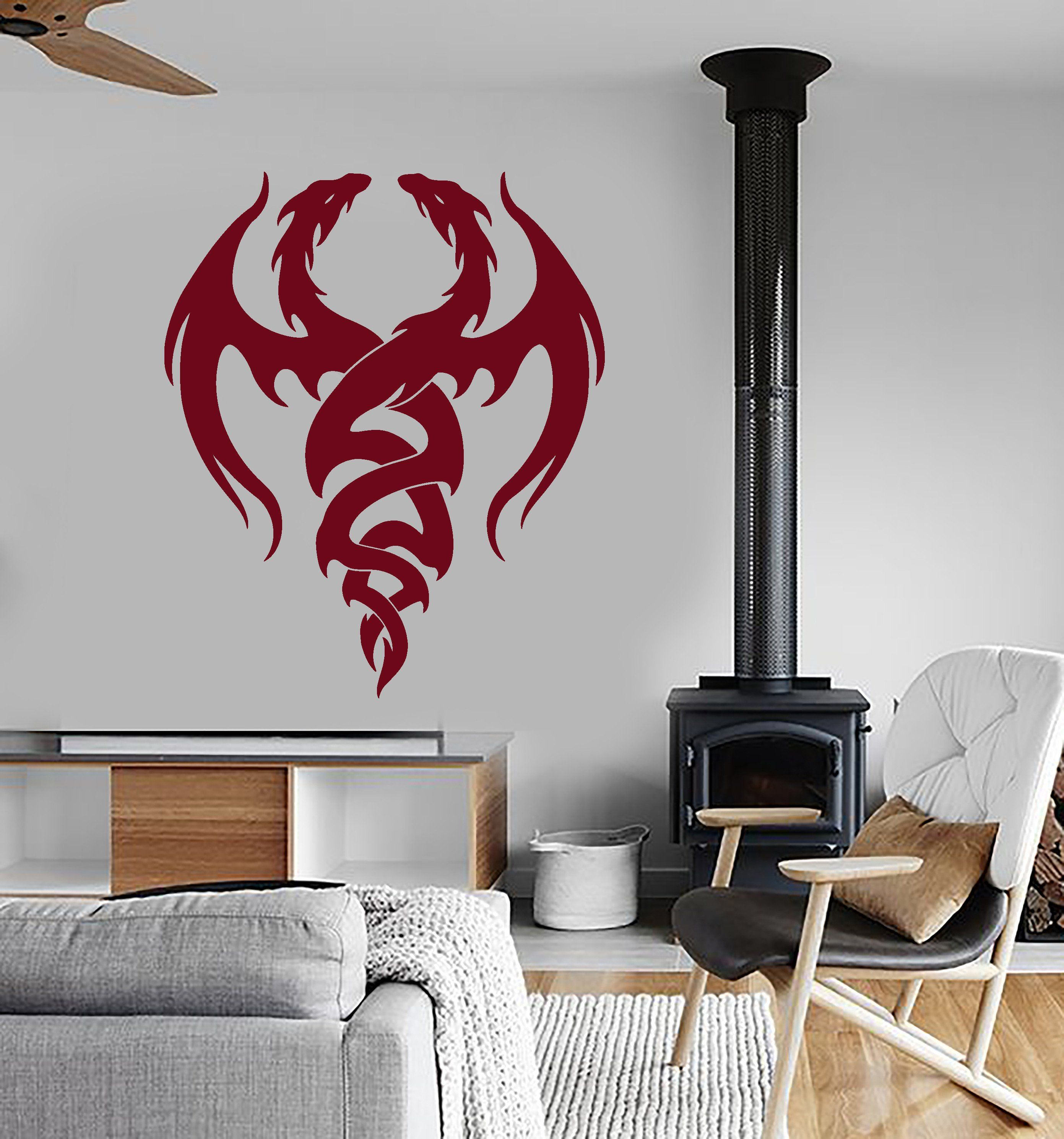 Vinyl Wall Decal Dragons Magic Fantasy Childs Kids Room Stickers