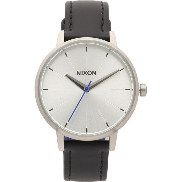 Nixon Kensington Leather Watch (175 AUD) ❤ liked on Polyvore featuring jewelry, watches, montres, leather band watches, nixon jewelry, leather band wrist watch, nixon and slim watches