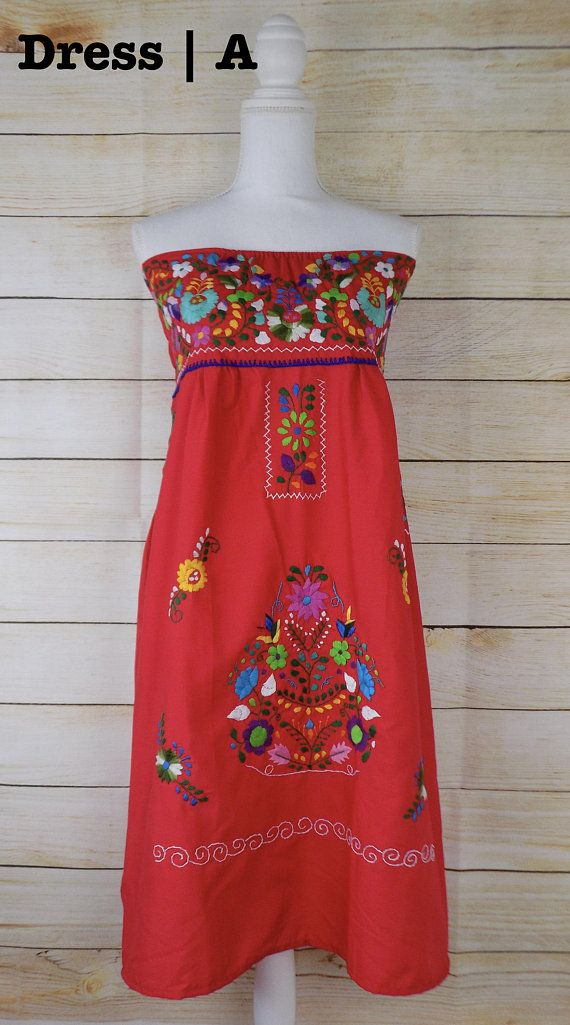 90dc9cf446abd Womens Mexican Dress - Strapless Mexican Dress - Red Mexican Dress - Womens  Large - Embroidered Dres