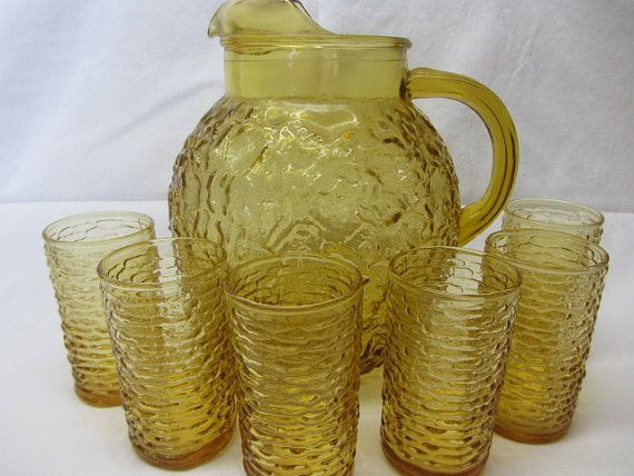 Vintage Pitcher And Glasses Anchor Hocking Amber Yellow Milano Lido Pitcher 8 Oz Glass Set Amber Glassware Vintage Pitchers Glass Set