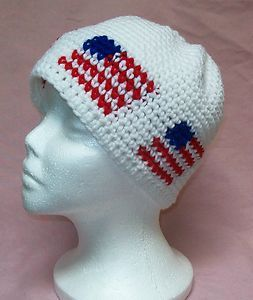 4c0a95a07f1 Womens Mens Handmade Crochet Red White Blue American Flag Rasta Beanie Hat