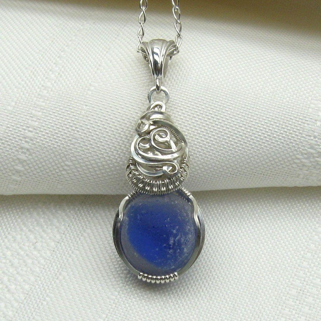 Sea Glass Necklace Blue Seaglass Pendant Beach Glass