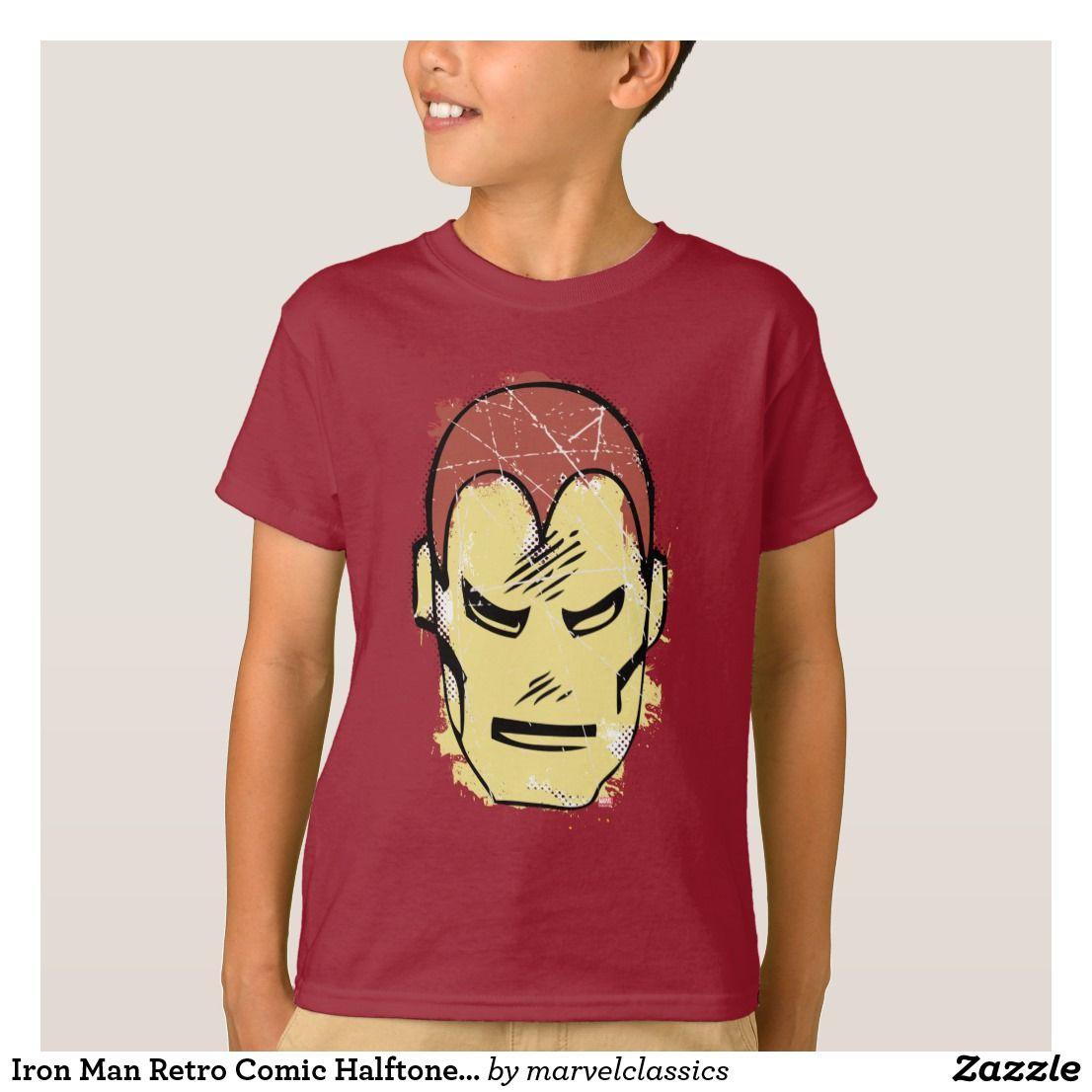 Iron Man Retro Comic Halftone Head T Shirt