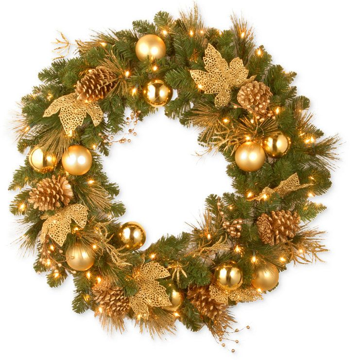 National Tree Company 24 Decorative Collection Elegance Wreath With 50 Battery Operated Led Lights Timer