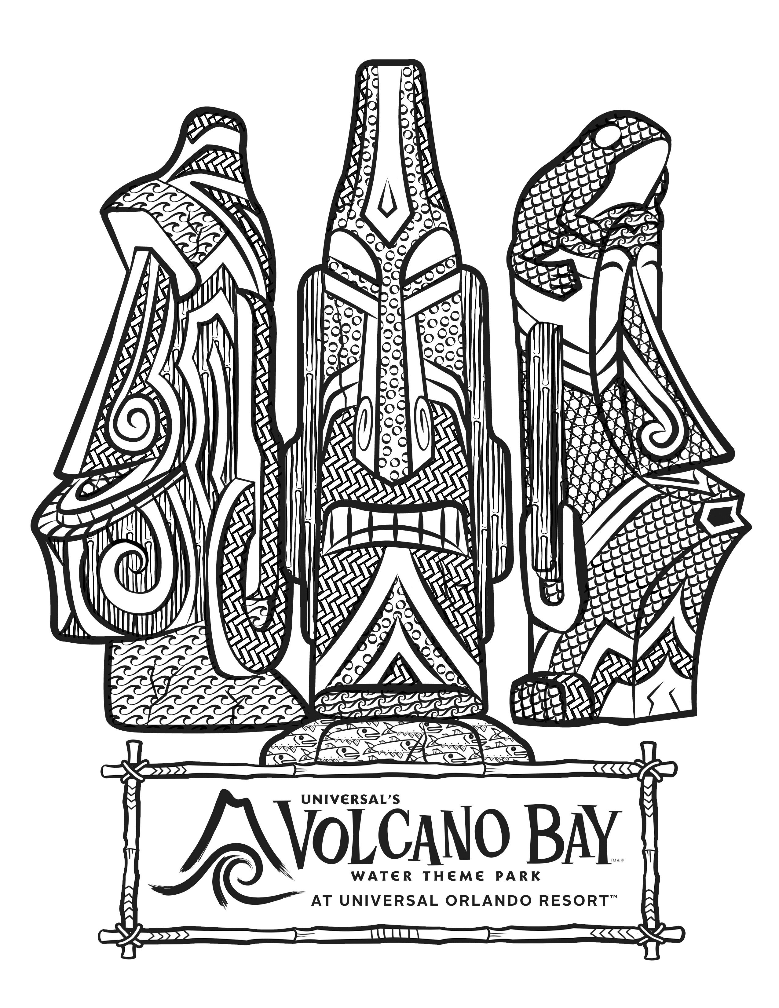 universal movie coloring pages | Universal's Volcano Bay Tikis Coloring Page | Theme Park ...