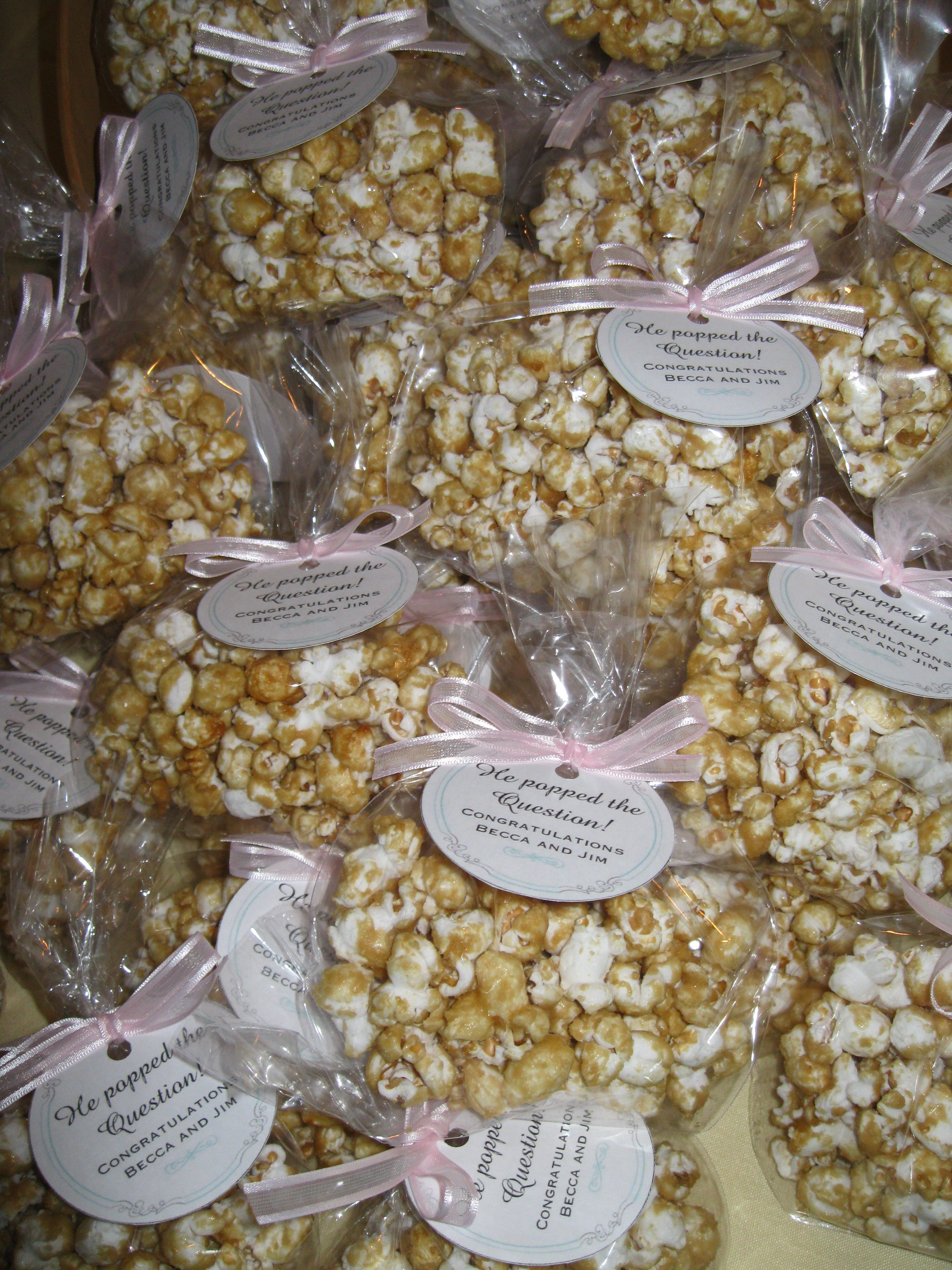 "caramel popcorn favors he ""popped"" the question vintage love"