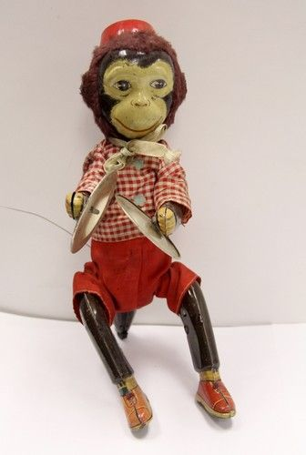 Antique 1930s Tin Toy Monkey With Cymbals Very Rare Ebay