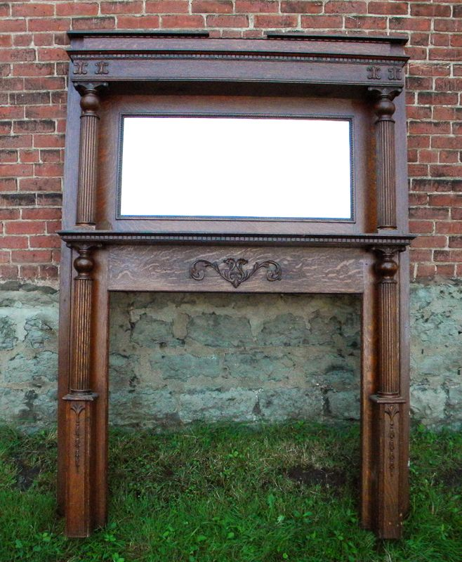 Antique Fireplace Mantel - Victorian Chippy Shabby Chic Painted Vintage Antique Fireplace