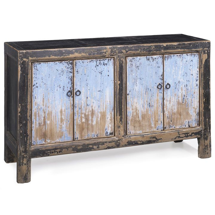 Distressed finish black and blue sideboard. This four door sideboard is a more rustic version of the classic Chinese double sided cabinet, the distressed powder blue doors framed beautifully by the surrounding thick black lacquer frames. #ChineseSideboard #OrientalShabbyChic